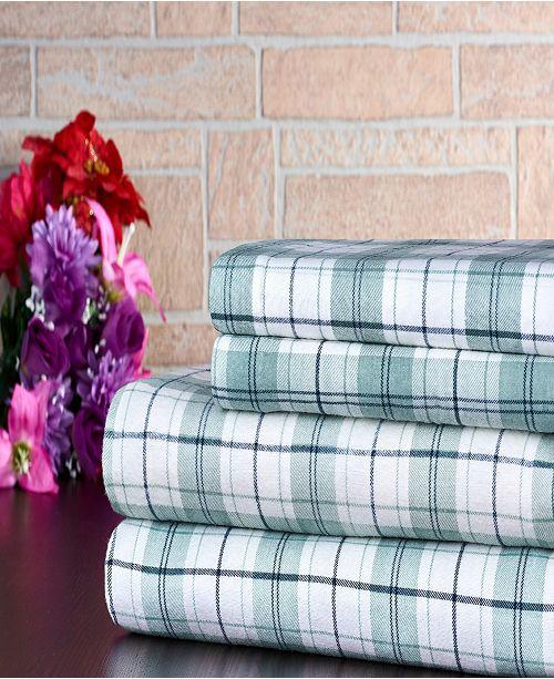 Bibb Home 100% Cotton Flannel Printed Twin Sheet Set