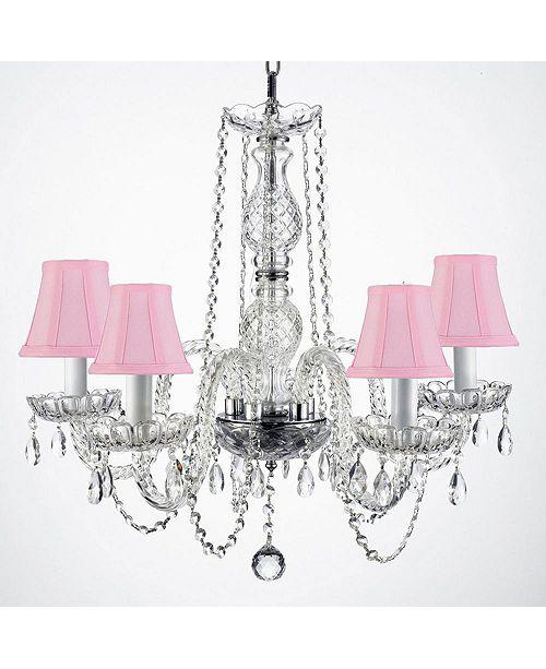 Harrison Lane Empress Crystal 5-Light  Crystal Chandelier with Pink Shades