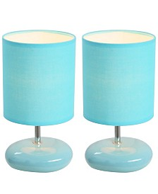 Simple Designs Stonies Small Stone Look Table Bedside Lamp 2 Pack Set