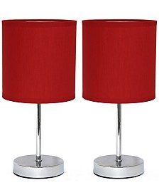 Simple Designs Chrome Mini Basic Table Lamp with Fabric Shade 2 Pack Set