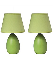Simple Designs Mini Egg Oval Ceramic Table Lamp 2 Pack Set