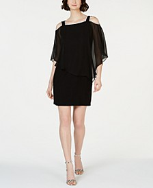 Cold-Shoulder Overlay Sheath Dress