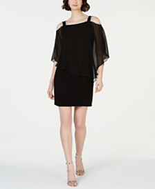 MSK Cold-Shoulder Overlay Sheath Dress