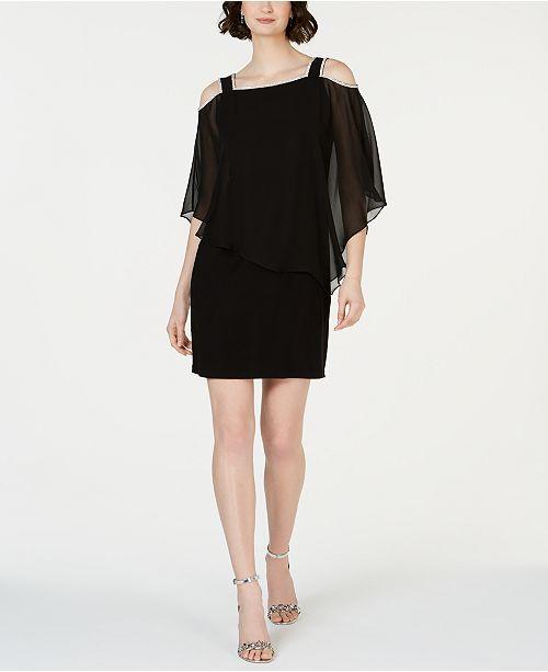 MSK Cold-Shoulder Overlay Sheath Dress