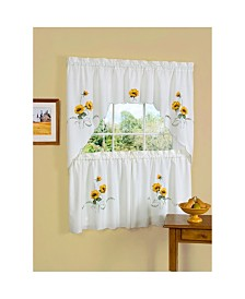 Sunshine Embellished Tier and Swag Window Curtain Set, 57x36