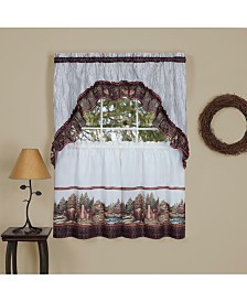 Woodlands Printed Tier & Swag Window Curtain Set, 57x36