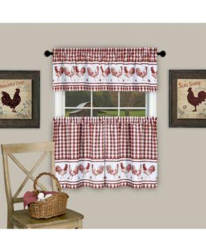 Image of Achim BRTV36BG12 58 x 36 in. Barnyard Window Curtain Tier Pair & Valance Set Burgundy