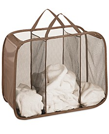 Mesh Hamper, Pop and Fold Laundry Triple Sorter