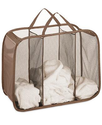 Whitmor Mesh Hamper Pop And Fold Laundry Triple Sorter
