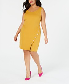 Love Squared Plus Size Side-Button Sleeveless Shift Dress