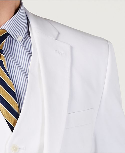 Mens Modern Fit Thflex Stretch Solid White Suit Jacket