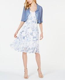 Connected Petite Floral Chiffon Dress & Shrug