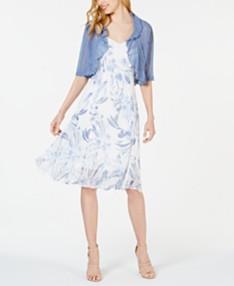 d3c07565b Connected Petite Floral Chiffon Dress & Shrug