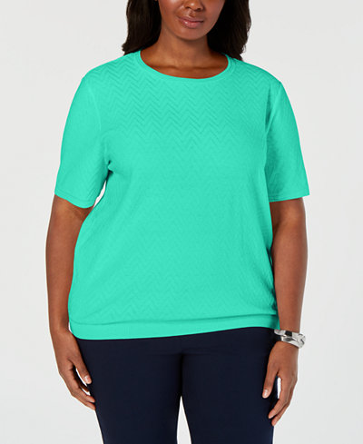 Alfred Dunner Plus Size Classic Short-Sleeve Chevron-Knit Sweater