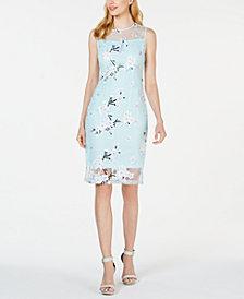 Calvin Klein Embroidered Illusion Sheath Dress