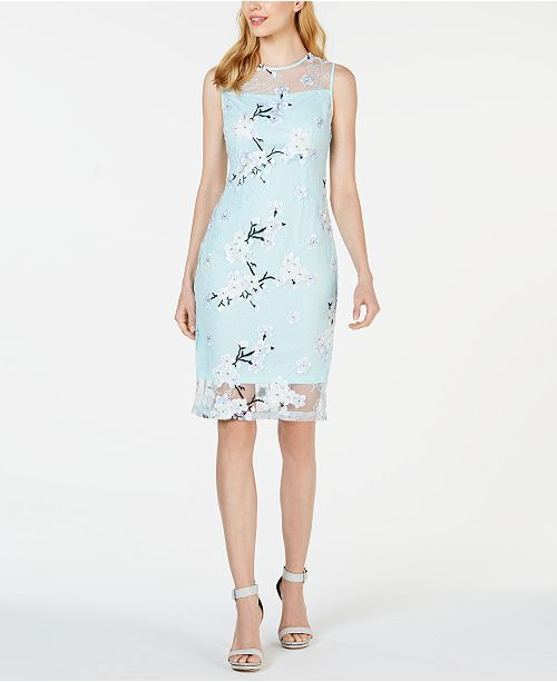Calvin Klein Embroidered Illusion Sheath Dress