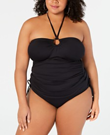 MICHAEL Michael Kors Plus Size Shirred Tankini Top & Hipster Bottoms