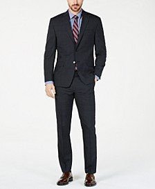 Men's Classic-Fit UltraFlex  Stretch Charcoal Windowpane Suit Separates