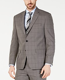 Lauren Ralph Lauren Men's Classic-Fit UltraFlex  Stretch Taupe Windowpane Suit Jacket