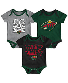 Outerstuff Minnesota Wild Five On Three Creeper 3 Pc Set, Infants (0-9 Months)
