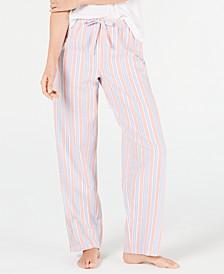 Stripe-Print Woven Soft Cotton Pajama Pants, Created for Macy's