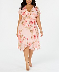 Plus Size Floral Capelet Dress