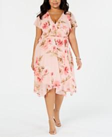 Jessica Howard Plus Size Floral Capelet Dress