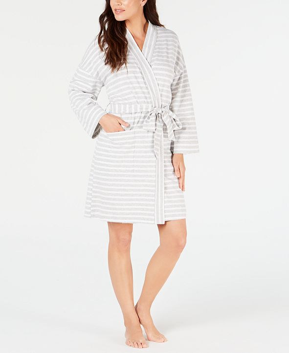 Charter Club Stripe-Print Knit Short Robe, Created for Macy's