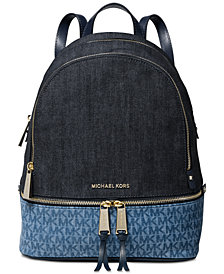 MICHAEL Michael Kors Rhea Signature Denim Backpack, Created for Macy's