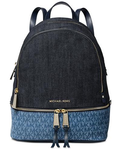 MICHAEL Michael Kors Rhea Signature Denim Backpack, Created for Macy's