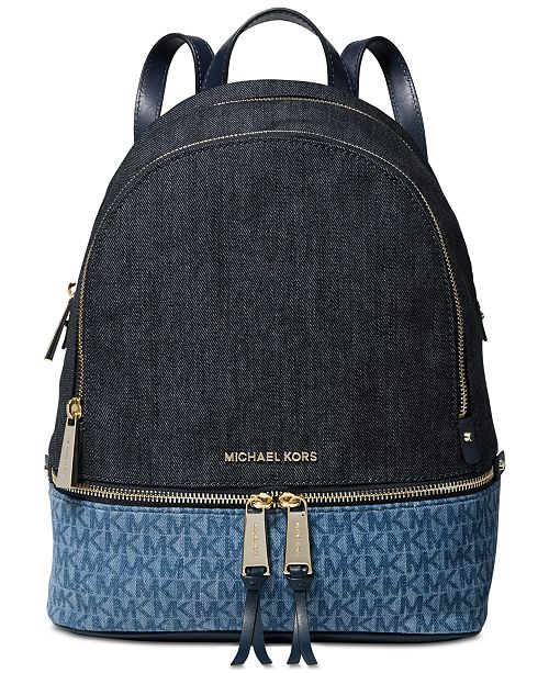 7782d78fee34 ... Michael Kors Rhea Signature Denim Backpack, Created for Macy's ...
