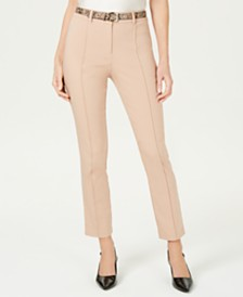 JM Collection Petite Belted Fly-Front Pants, Created for Macy's