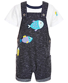 First Impressions Baby Boys 2-Pc. T-Shirt & Fish Shortall Set, Created for Macy's