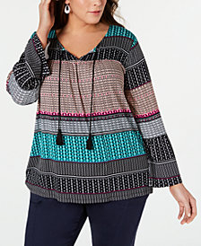 Style & Co Plus Size Geo-Print Peasant Top, Created for Macy's