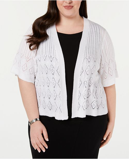 Robbie Bee Plus Size Pointelle Cardigan