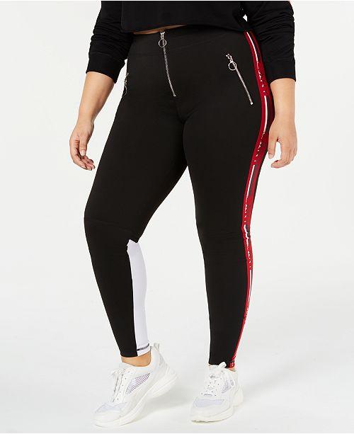 Lala Anthony La La Anthony Trendy Plus Size Logo-Stripe Leggings