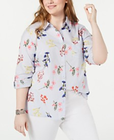 Tommy Hilfiger Plus Size Printed Cotton Roll-Tab Shirt