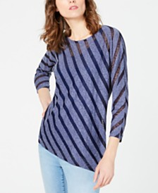 I.N.C. Illusion-Stripe Asymmetrical Tunic, Created for Macy's