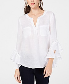 INC Petite Ruffled-Cuff Split-Neck Top, Created For Macy's
