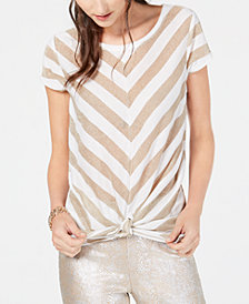 I.N.C. Petite Metallic-Stripe Tie-Front Top, Created for Macy's