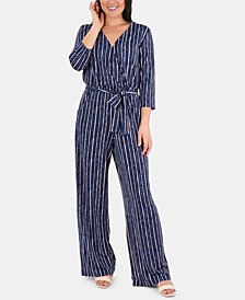 Petite Striped Belted Jumpsuit