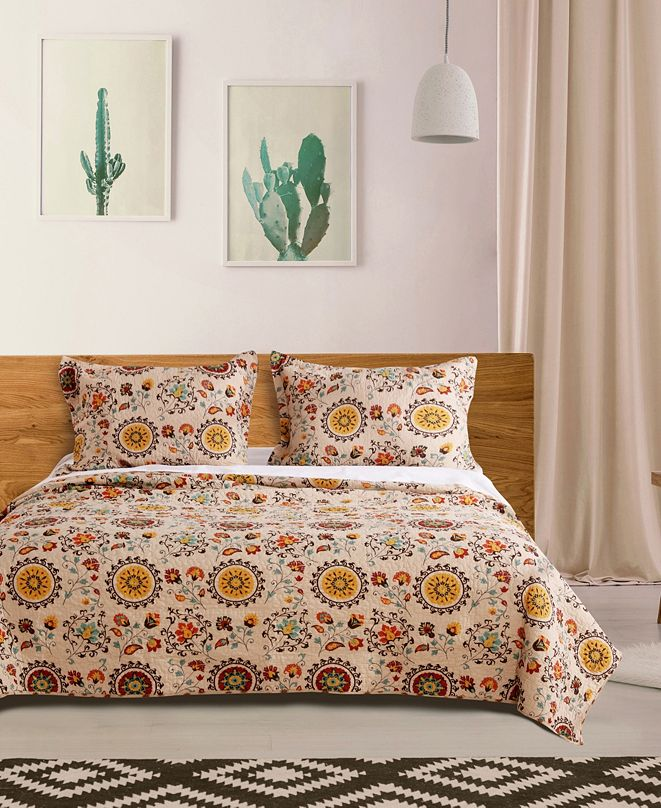 Greenland Home Fashions Andorra Quilt Set, 3-Piece Full - Queen