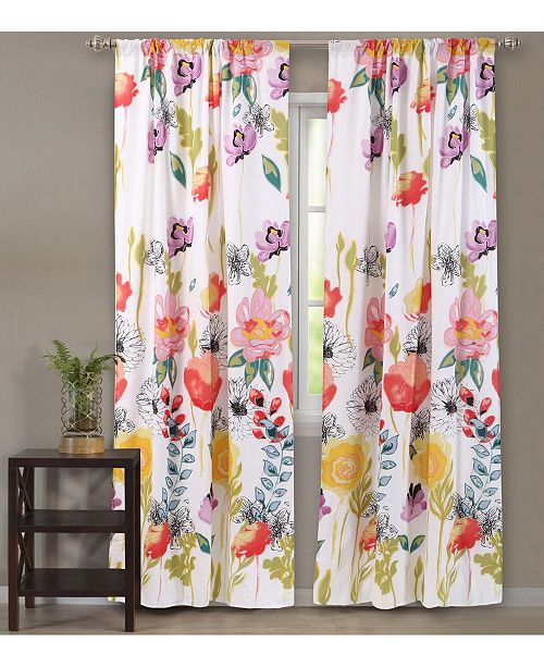 """Greenland Home Fashions Watercolor Dream Window Panel Pair 84"""""""