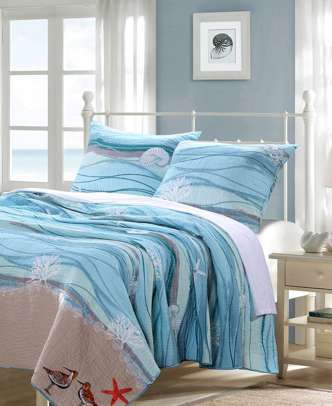 Greenland Home Fashions Maui Quilt Set, 3-Piece Full - Queen