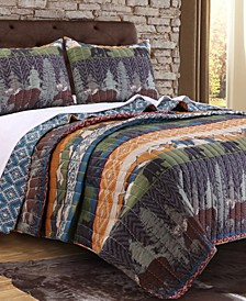 Black Bear Lodge Quilt Set, 3-Piece Full - Queen