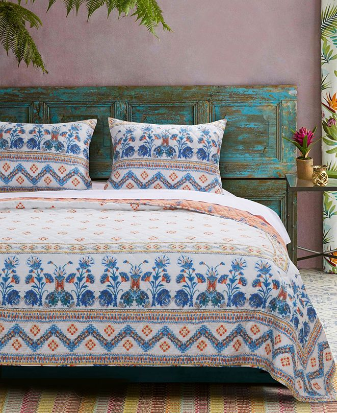 Greenland Home Fashions Aleena Quilt Set, 3-Piece Full - Queen