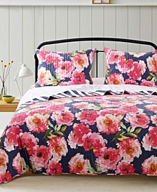 Peony Posy Quilt Set, 3-Piece Full - Queen