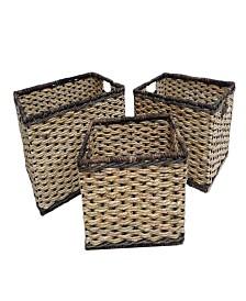 Set of 3 Tall Rectangular Bangkuang and Bacbac Storage Baskets