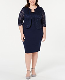 Alex Evenings Plus Size Sequined Lace Jacket & Shift Dress