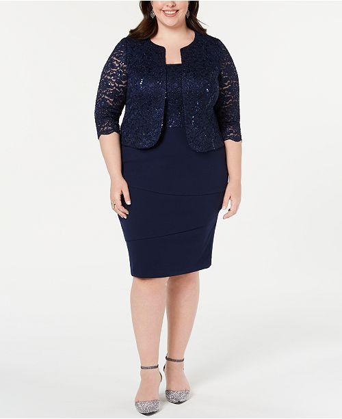 acef83b69be Alex Evenings Plus Size Sequined Lace Jacket   Shift Dress   Reviews ...